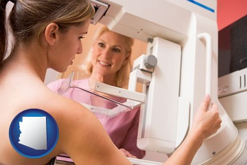 a nurse assisting a patient with a mammogram test - with Arizona icon