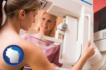 a nurse assisting a patient with a mammogram test - with Wisconsin icon